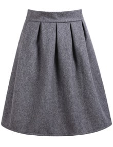 High Waist Wine Grey Skirt