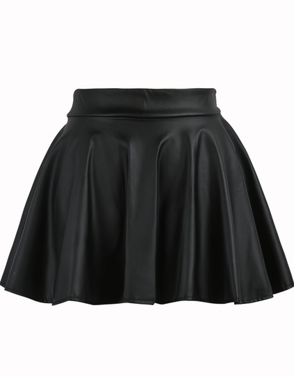 Pleated Flare PU Black Skirt pictures