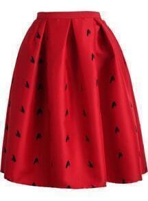 Frog Print Flare Skirt