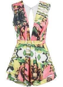 Floral Backless Slim Jumpsuit