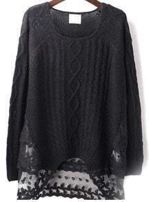 Black Embroidered Mesh Sweater