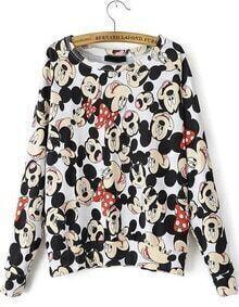 Mickey Print Loose Sweatshirt
