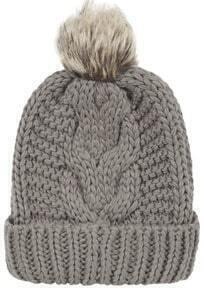Fur Ball Top Embellished Beanie--Grey