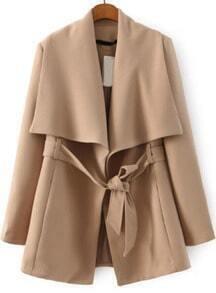 Lapel Self-tie Khaki Coat