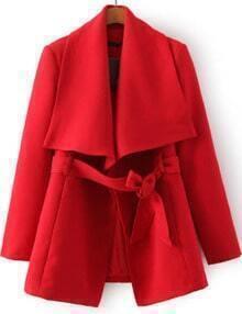 Lapel Self-tie Red Coat