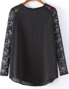 Lace Long-sleeve Loose Black Blouse