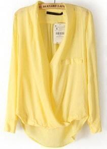 V Neck Cross Dipped Hem Yellow Blouse