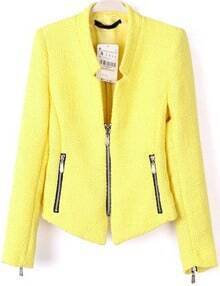 Zipper Crop Yellow Blazer