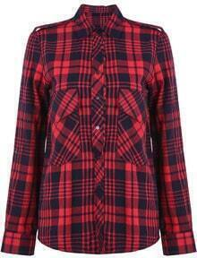 Check Print Red Blouse