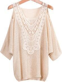 Cutout Shoulder Apricot Knitwear with Lace Detail