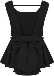 Bow Backless Black Blouse
