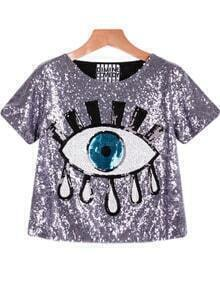 Sequined Eye Print Grey Blouse