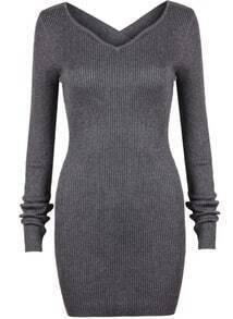 Criss Cross Bodycon Grey Dress