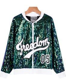 Sequined Letters Green Jacket