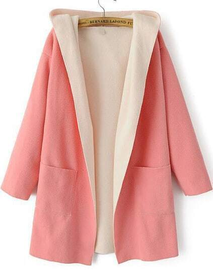 Hooded Pockets Woolen Pink Coat