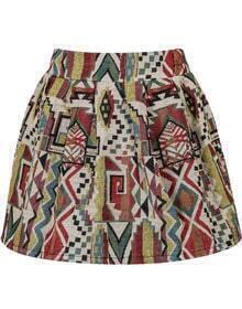 Tribal Print Flare Multicolor Skirt