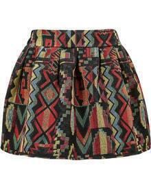 Tribal Print Flare Skirt