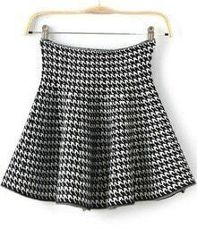 Houndstooth Print Flare Skirt