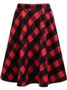 Plaid Midi Red Skirt