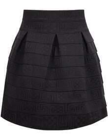 Striped Flare Black Skirt