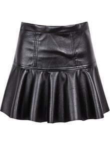 Pleated PU Black Skirt