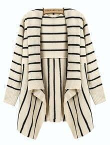 Striped Draped Front Cardigan