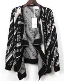 Geometric Pattern Knit Cardigan