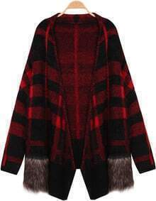 Contrast Fur Plaid Knit Cardigan
