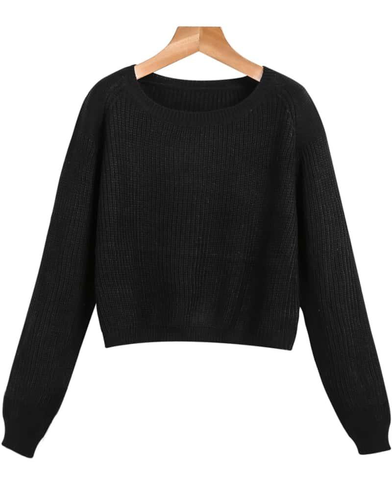 Вязаный Пуловер Черный