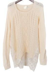 Hollow Lace Knit Loose Apricot Sweater