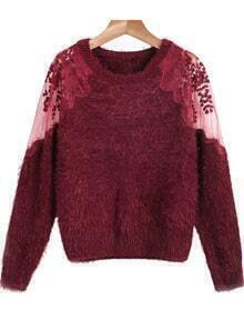 Hollow Lace Mesh Mohair Red Sweater