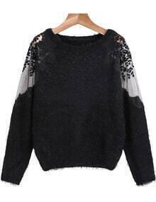 Hollow Lace Mesh Mohair Black Sweater