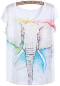 Elephant Print Loose T-Shirt