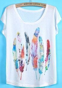 Feather Print White T-Shirt