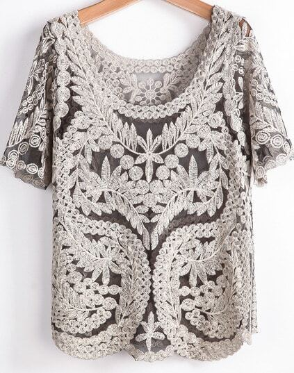 Hollow embroidered mesh t shirt for Embroidered mesh t shirt