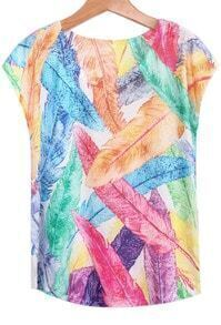 Multicolor Feather Print T-Shirt
