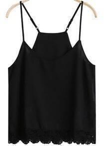 Lace Strap Black Chiffon Cami Top
