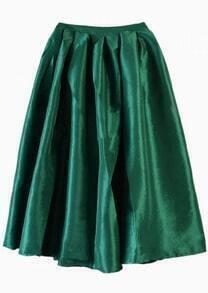 Flare Pleated Midi Green Skirt