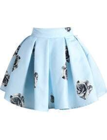 Rose Print Flare Mini Blue Skirt