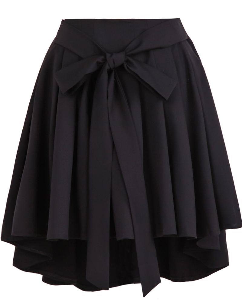 belt pleated black skirt