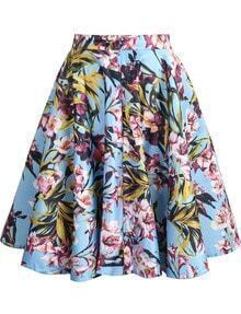 Floral Print Flouncing Blue Skirt