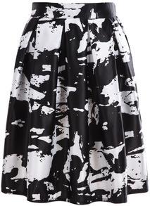 Ink Print Pleated Midi Skirt