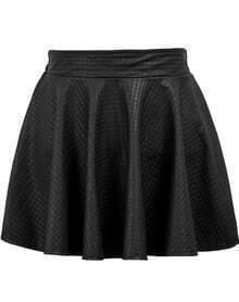Plaid Pleated Leather Black Skirt