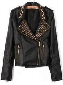 Lapel Rivet Zipper Crop Jacket