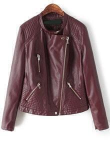 Oblique Zipper Pockets Crop Red PU Jacket