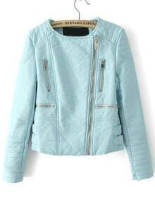 Zipper Crop PU Jacket-Blue