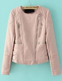 Zipper Crop PU Jacket-Pink