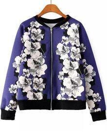 Floral Print Purple Jacket