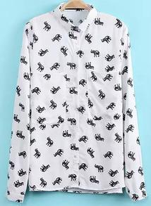Elephant Print White Blouse
