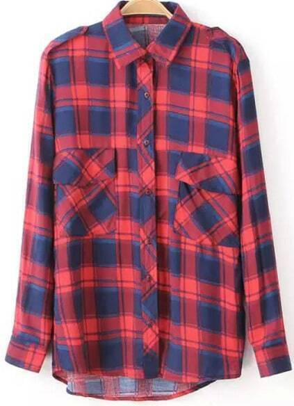 plaid red blue blousefor women